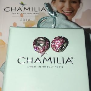 Two Chamilia Pink Sparkly Bling Charms